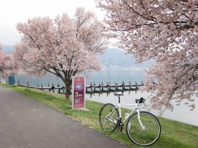 春の諏訪湖にて